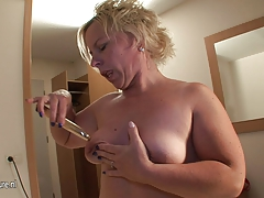 Fat ass blonde mother playing with her special toy