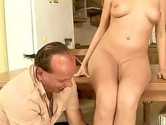 Ugly guy pissing on sexy girl