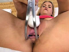 Blonde trying brutal gyno toys on hole