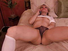 Hot blonde on the phone. JOI