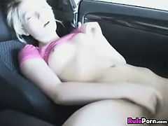 Blonde Hottie Squirt In Her Car