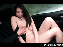 Curvy jap hottie flashing her hungry snatch in the sex van