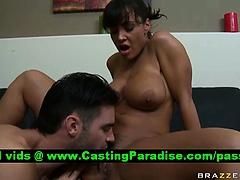 Lisa Ann busty brunette blowjob