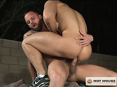 Derek throws Latin stud Jordano on his back and teases his