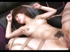 Roped And Oiled Hairy Asian Teen Made To Orgasm