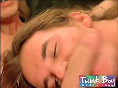 Three horny twink boys sharing their loads of cum