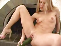 Blonde with dildo, cucumber and banana