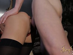 Tempting blonde takes big cock in her moist mouth