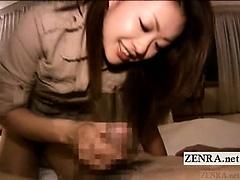 Subtitled CFNM Japanese cougar hotel handjob cumshot