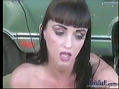 Natural boobed brunette Summer Cummings sits outdoors next to her trailer while getting a pedicure by a man who happens to be a foot worshiper. Her gi